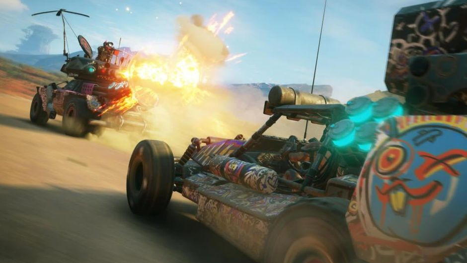 Two buggies on a dirt road from Bethesda's game Rage 2