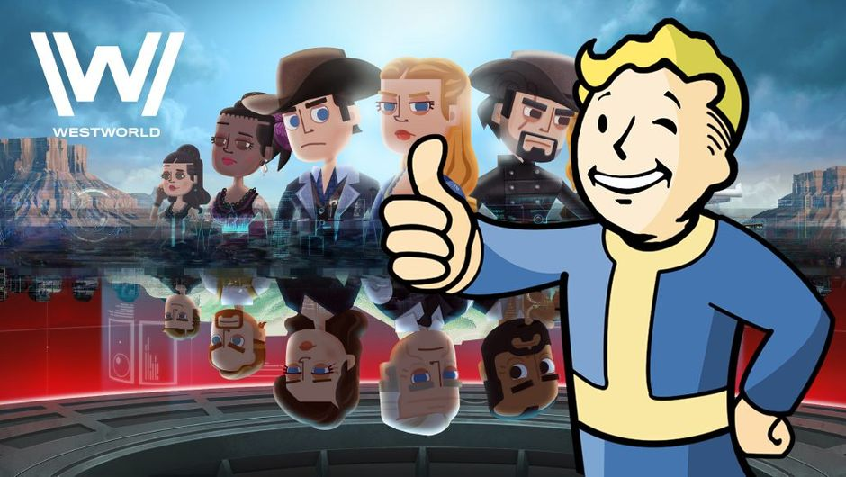picture showing westworld characters and vault boy