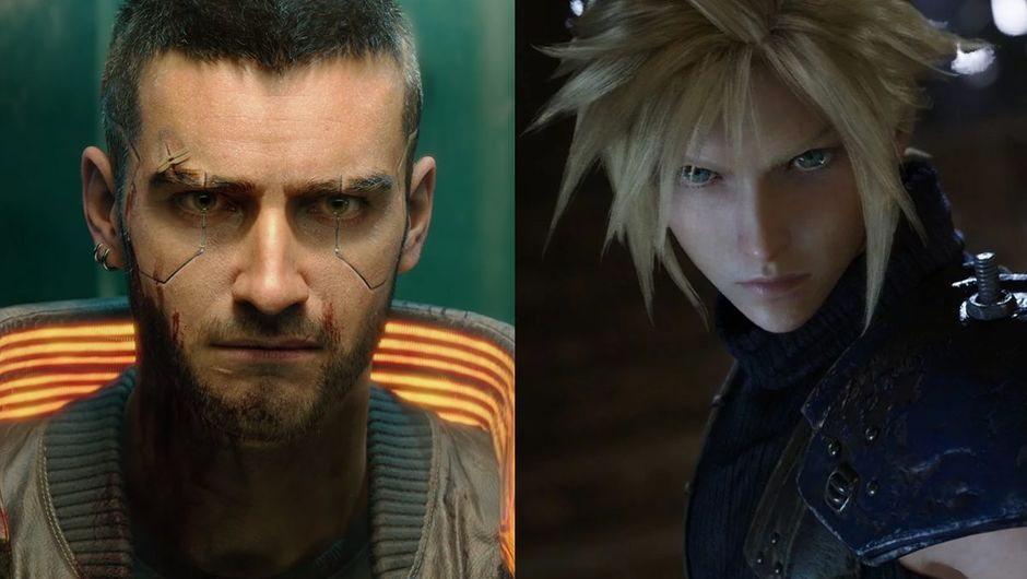 artwork showing characters from Cyberpunk 2077 and Final Fantasy VII Remake