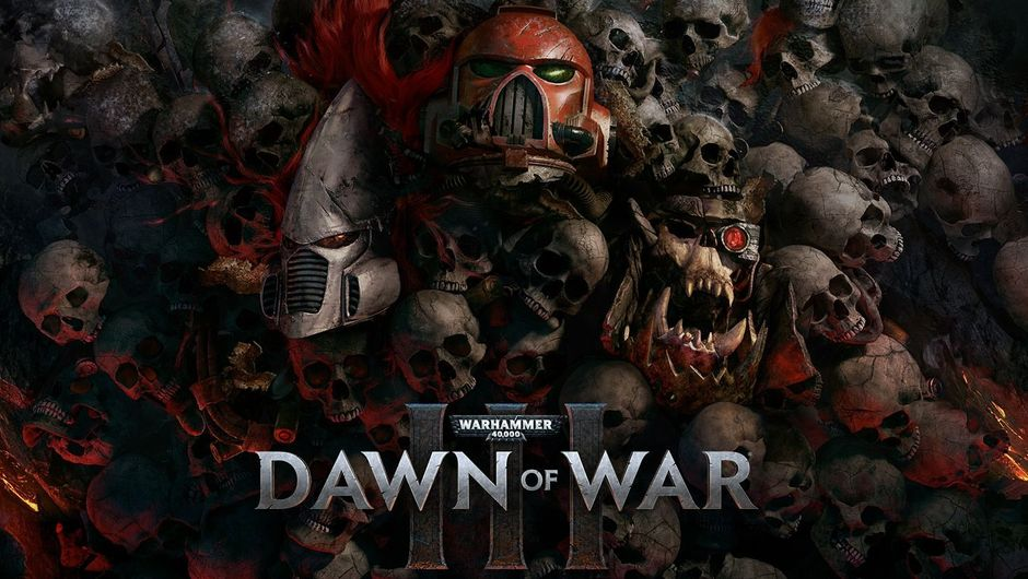 Dawn of War 3 logo with a bunch of skulls in the background