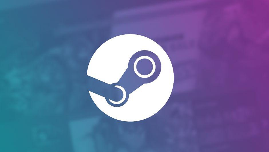 artwork showing steam logo on purple-blue gradient background