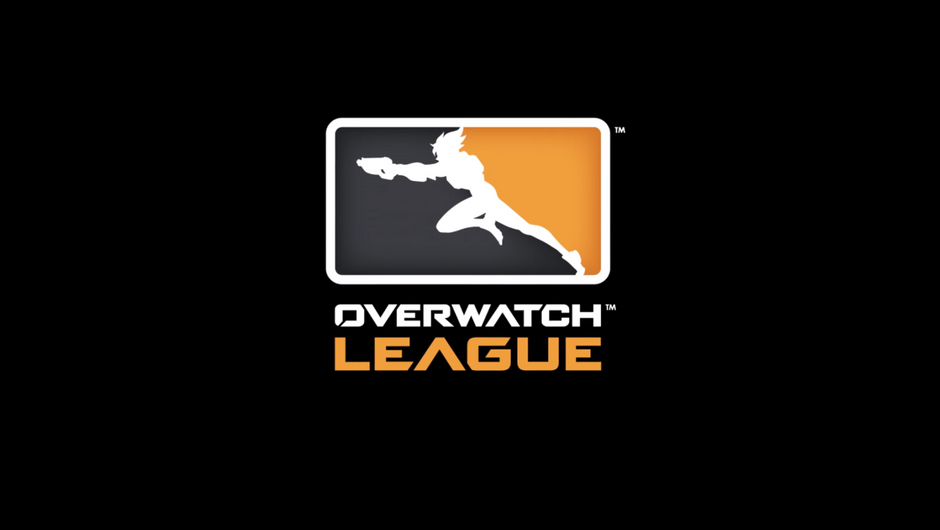 Logo for Overwatch League showing a silhouette of Tracer on it.