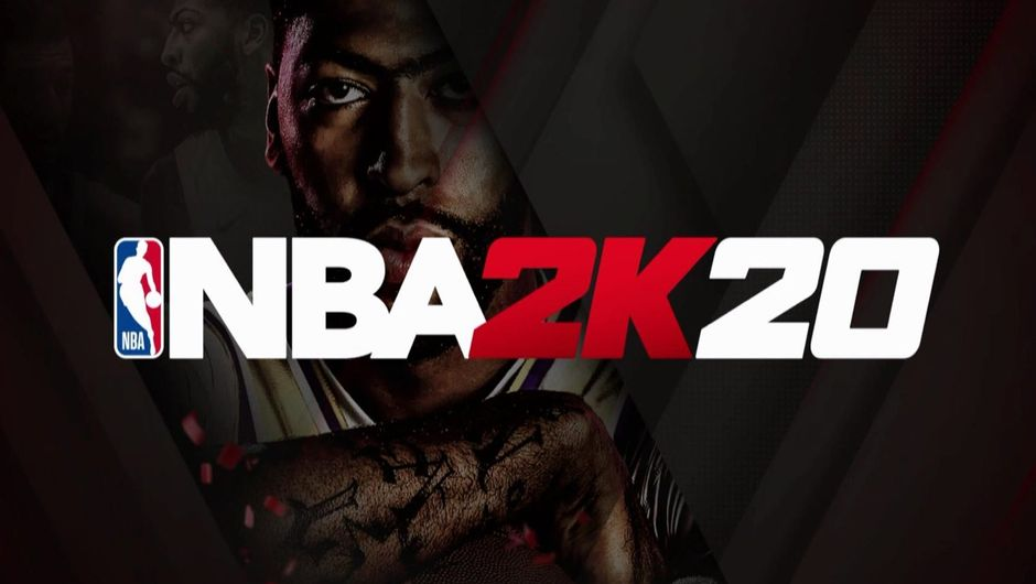 NBA 2K20 logo with Anthony Davis in the background.