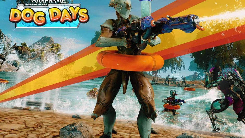 Warframe's summer-themed ad for Tactical Alert - Dog Days