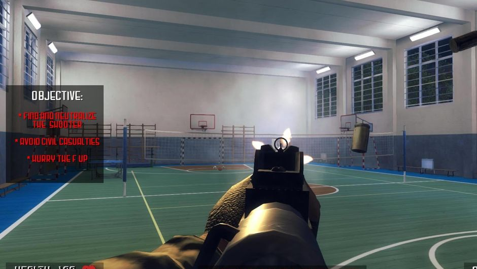 Screenshot from a controversial high school shooting game Active Shooter