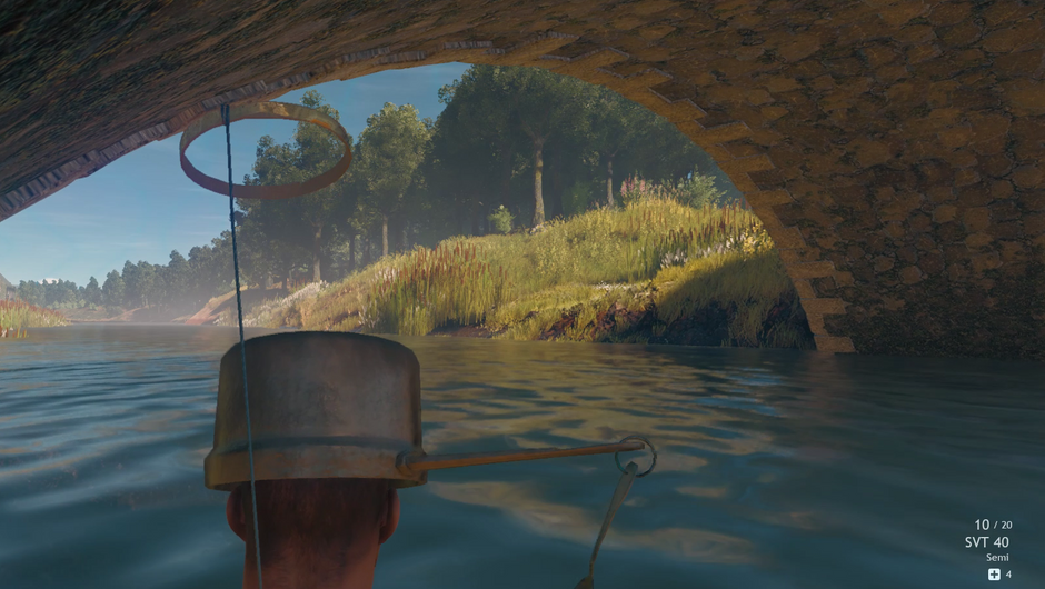 A man with a pot on his head under the bridge from Cuisine Royale