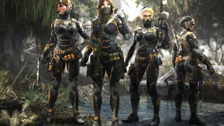 Four women are wearing Crysis nano suits for maximum nerd appeal