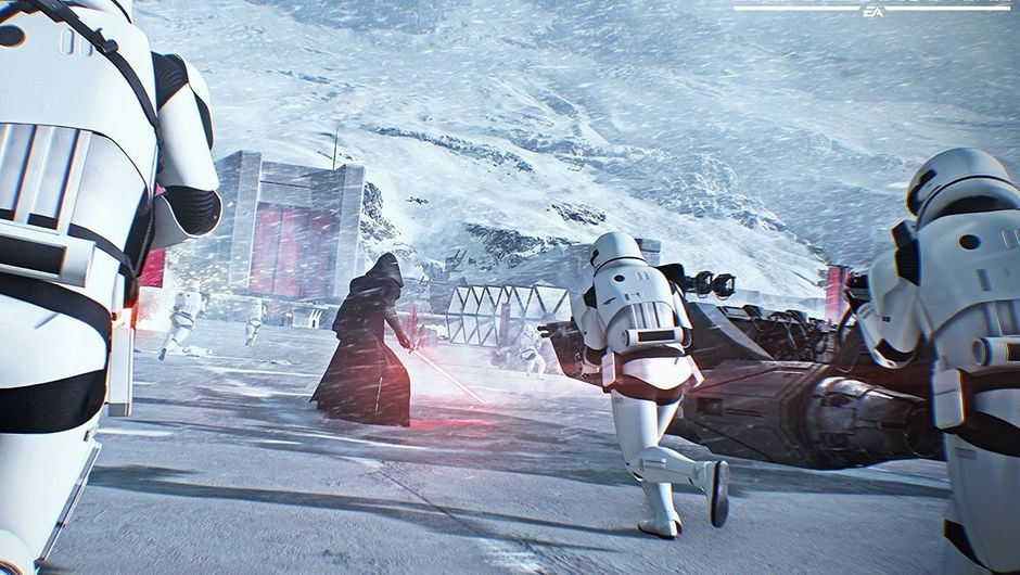 Kylo Ren and some Stormtroopers on Starkiller Base