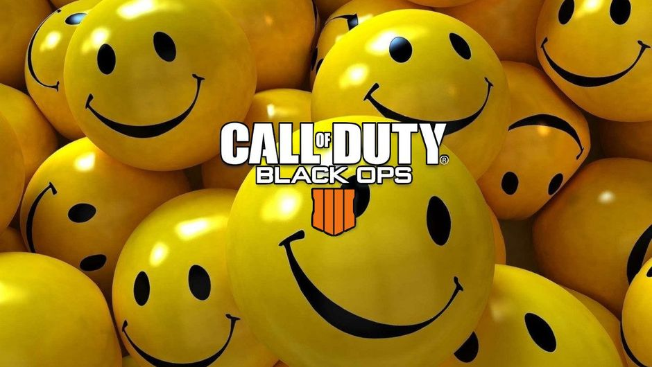 Spoof image of a bunch of smileys with Call of Duty: Black Ops 4 logo
