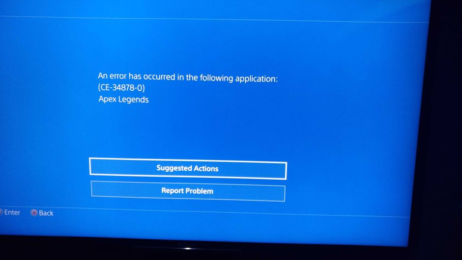 Picture of the CE-34878-0 error for Apex Legends on PS4