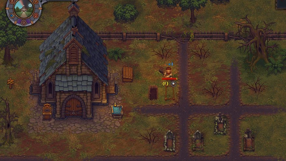 Screenshot of a pixelated graveyard from the game Graveyard Keeper