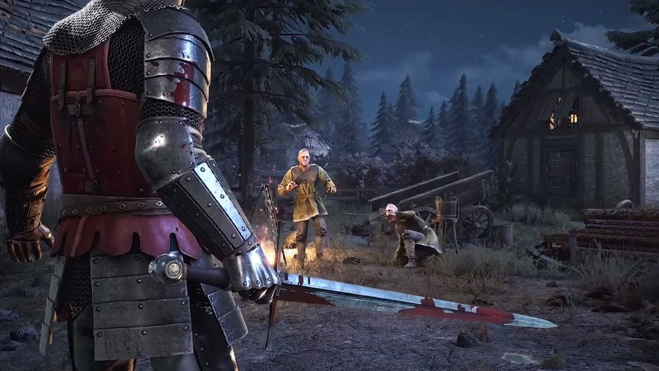 chivalry 2 screenshot showing a soldier holding a bloody sword and two man around campfire