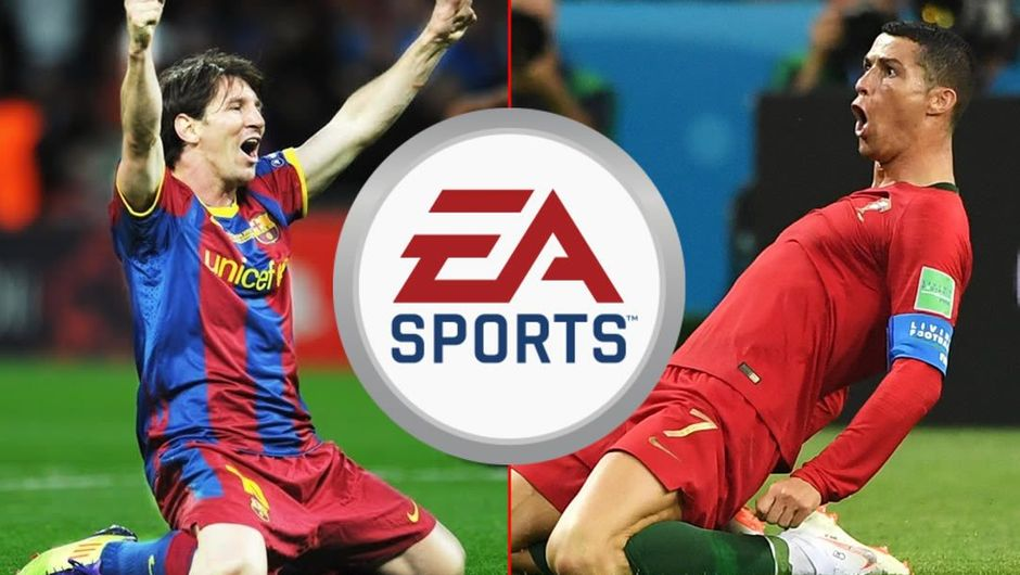 EA Sports logo with L. Messi left and C. Ronaldo right of it