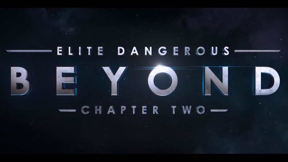 """Image of words spelling out """"elite dangerous beyond chapter two"""" on a dark background"""