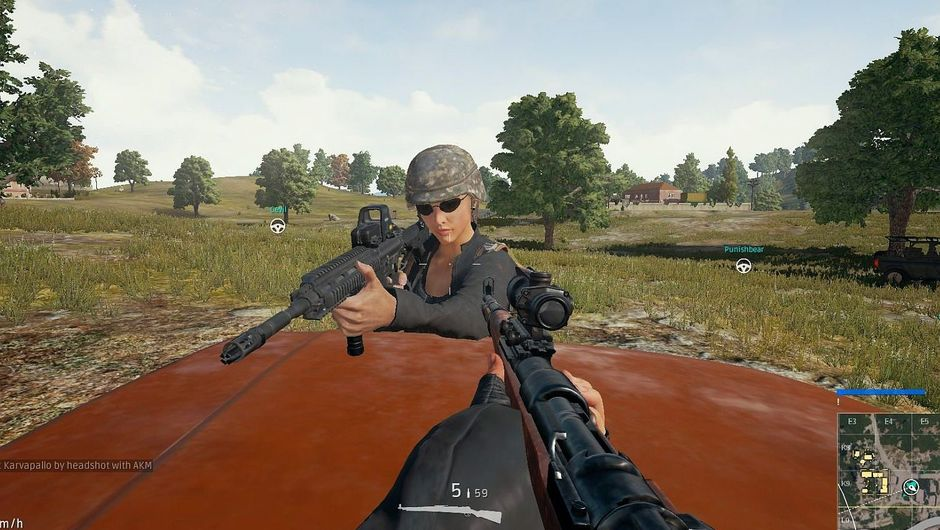 Two players looking at each other with their scoped rifles in PUBG.