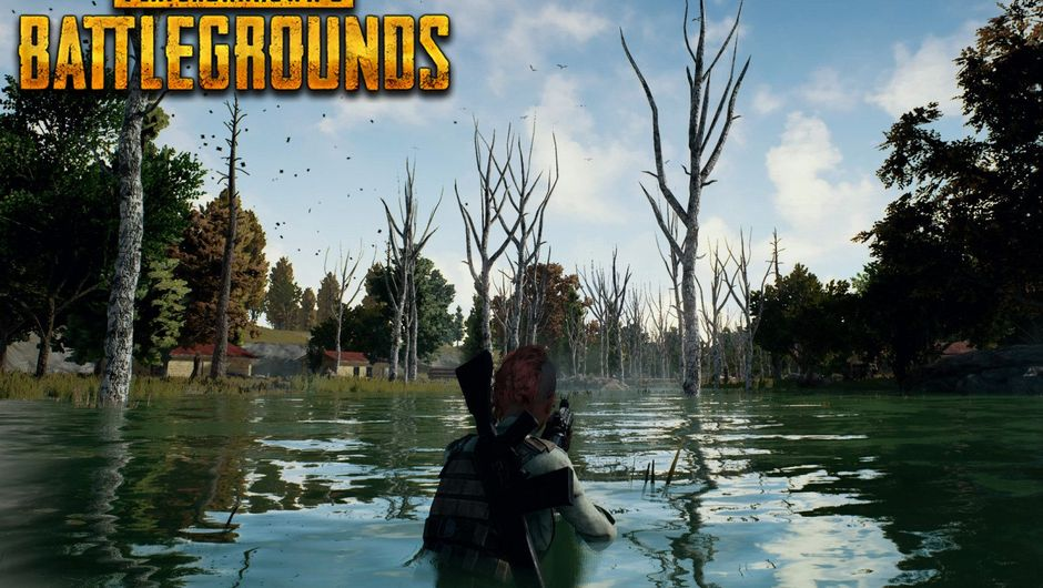 Player is walking through a swamp in PUBG while looking for enemies