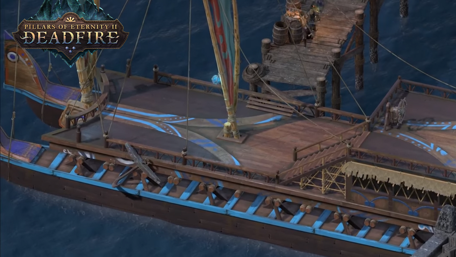 A ship showcase in Pillars of Eternity 2 : Deadfire. It is docked in a harbor.