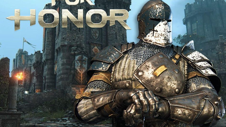Warden standing with his sword in front of a castle in For Honor.