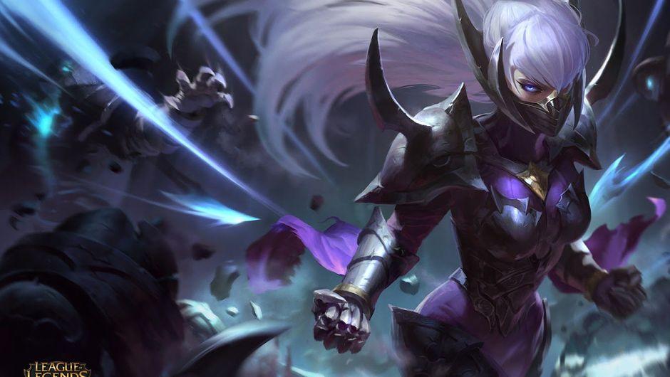Splash art for the Nightblade Irelia skin in League of Legends.