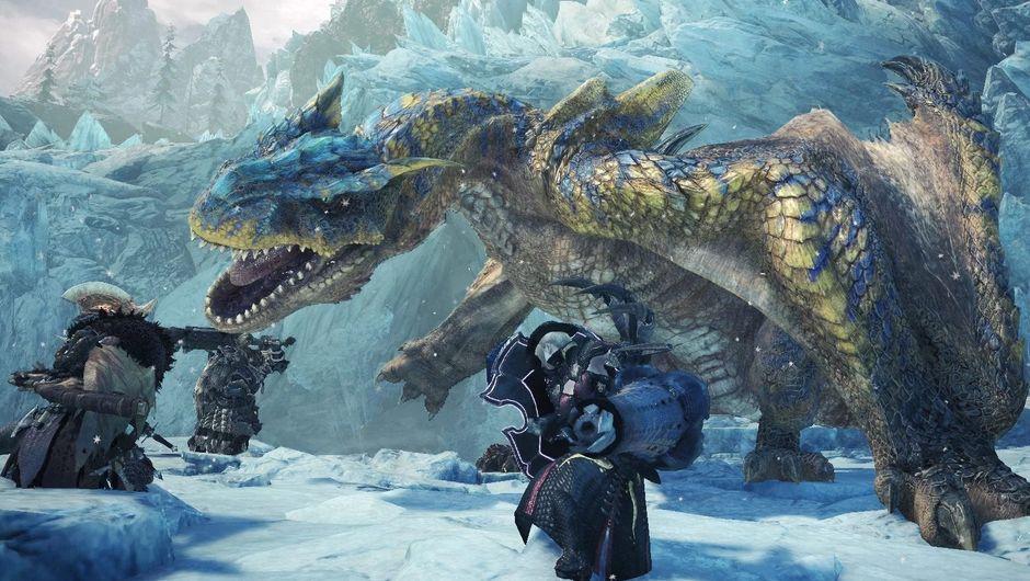 Monster Hunter World: Iceborne screenshot showing a dragon fighting two warriors