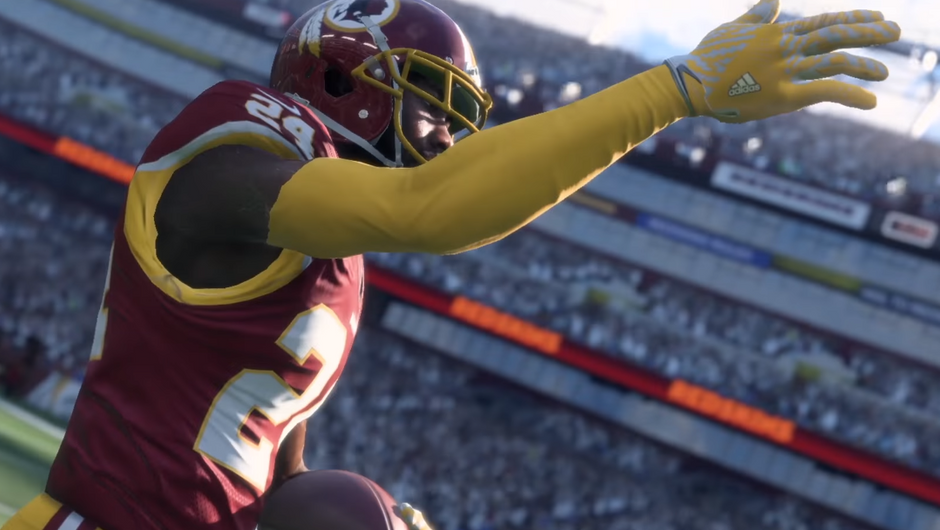 American football player waving to the crowd in Madden NFL 18