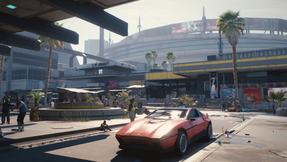 cp 2077 screenshot showing a red car parked in the city