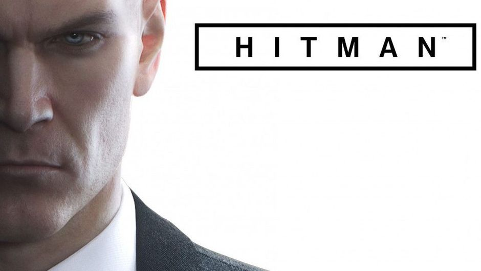 Half of Agent 47's face is visible on a white background for a promotional image.