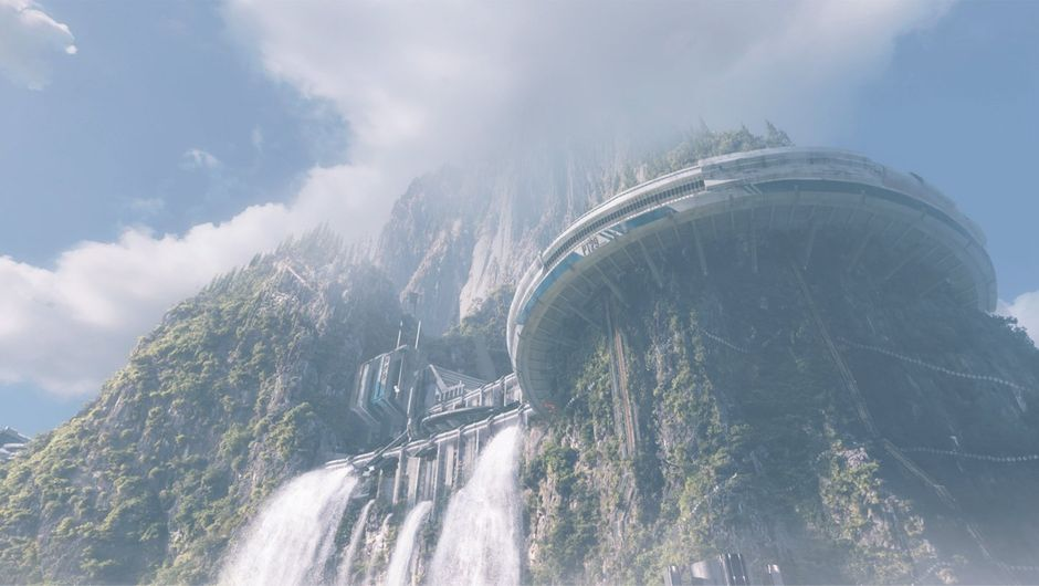 Apex Legends concept art showing a dam on a mountain
