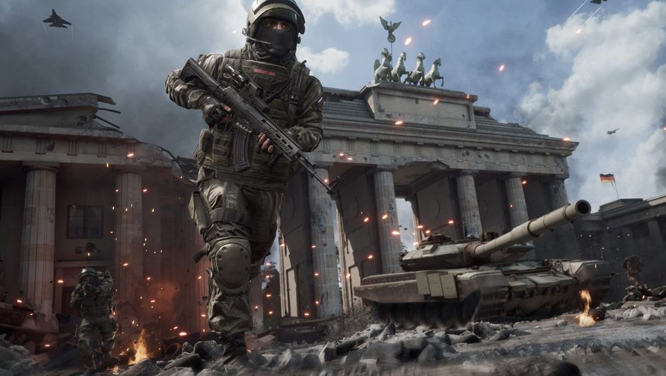 Picture of a soldier running next to a tank in World War 3 game