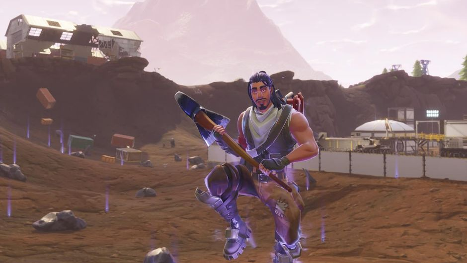 Character from Fortnite Battle Royale glowing in purple