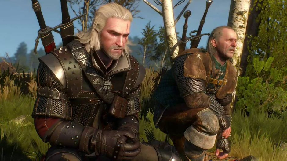 The Witcher 3 screenshot showing Geralt and Vesemir