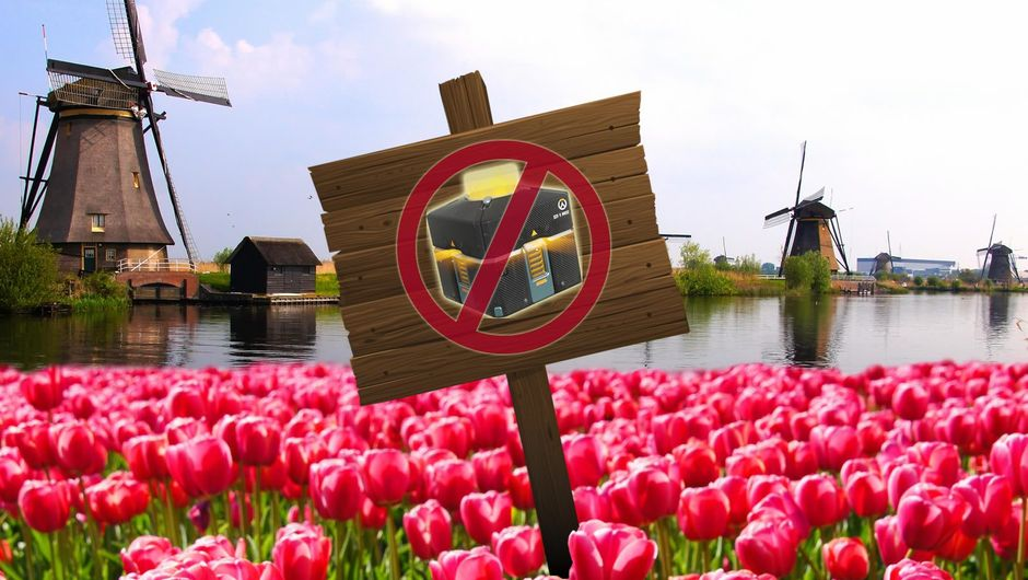 Photoshop of a No Loot Boxes Allowed sign in Holland