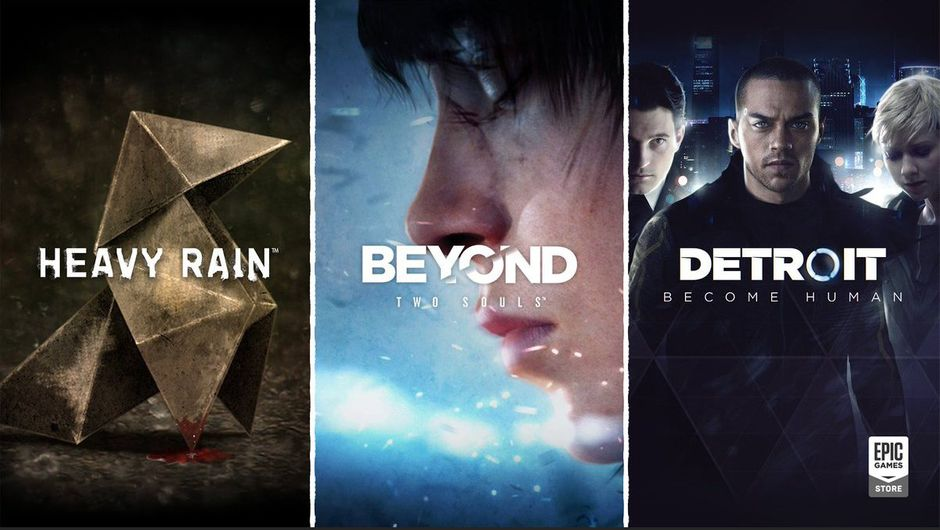 artwork showing characters from heavy rain, beyond two souls and detroit become human
