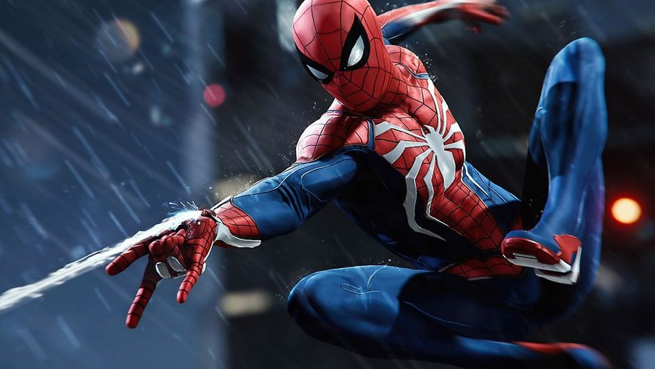 Spider-Man shooting his web while swinging in the rain