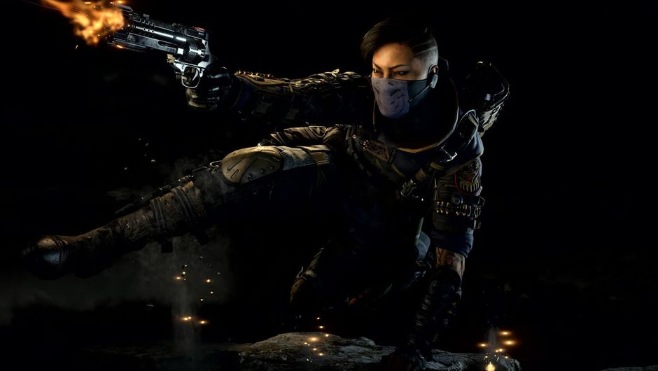 A woman in military clothing shooting a gun in Call of Duty: Black Ops 4