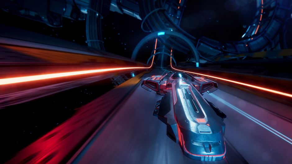 Futuristic vehicle is speeding in the upcoming game Antigravitator