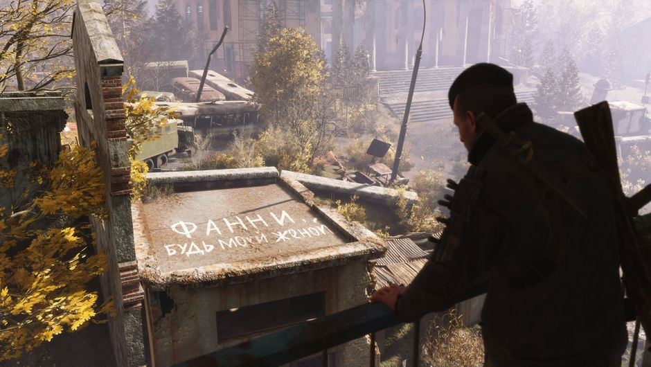 Metro Exodus character looking at ruins