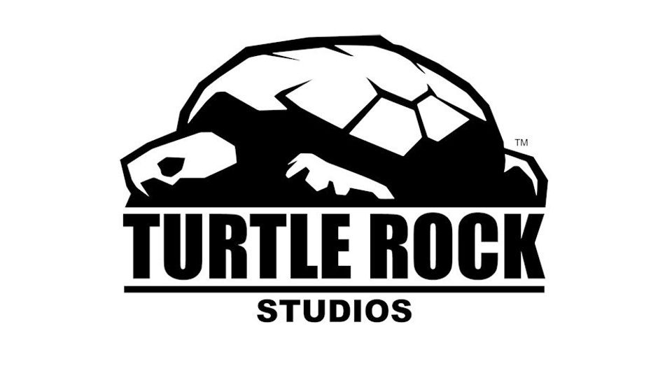 Picture of a Turtle Rock Studios logo, black on white