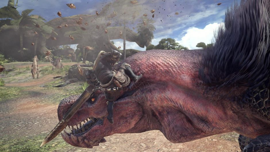 A reptile looking monster from Capcom's Monster Hunter: World