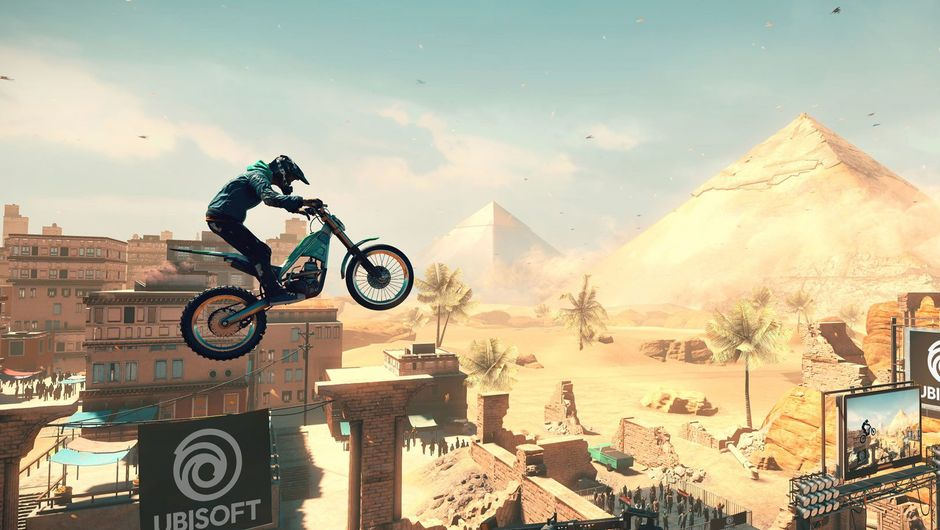 Picture of a dude on a bike jumping around a map in Trials Rising