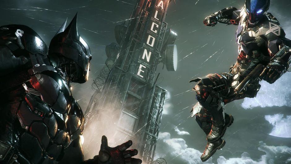 An assailant jumping at DC's Batman from Batman: Arkham Knight