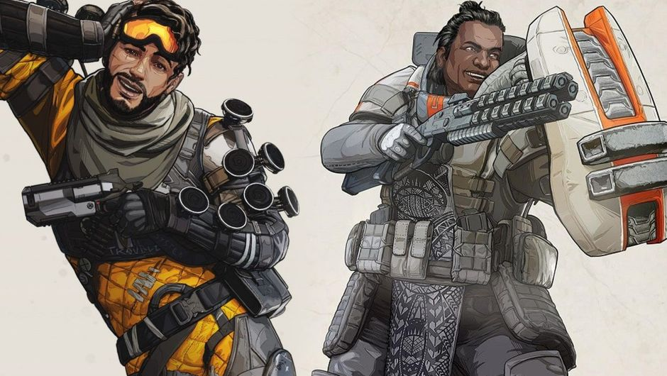 Apex Legends artwork showing mirage and gibraltar