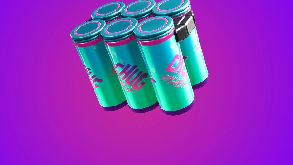 fortnite artwork showig six pack of chug splash cans