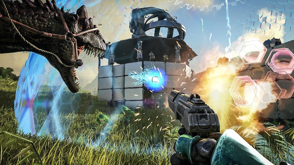 A gun pointing at a force field of sorts from the game Ark: Survival Evolved