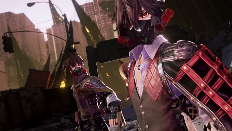 Code Vein protagonists standing outside, on a destroyed street.