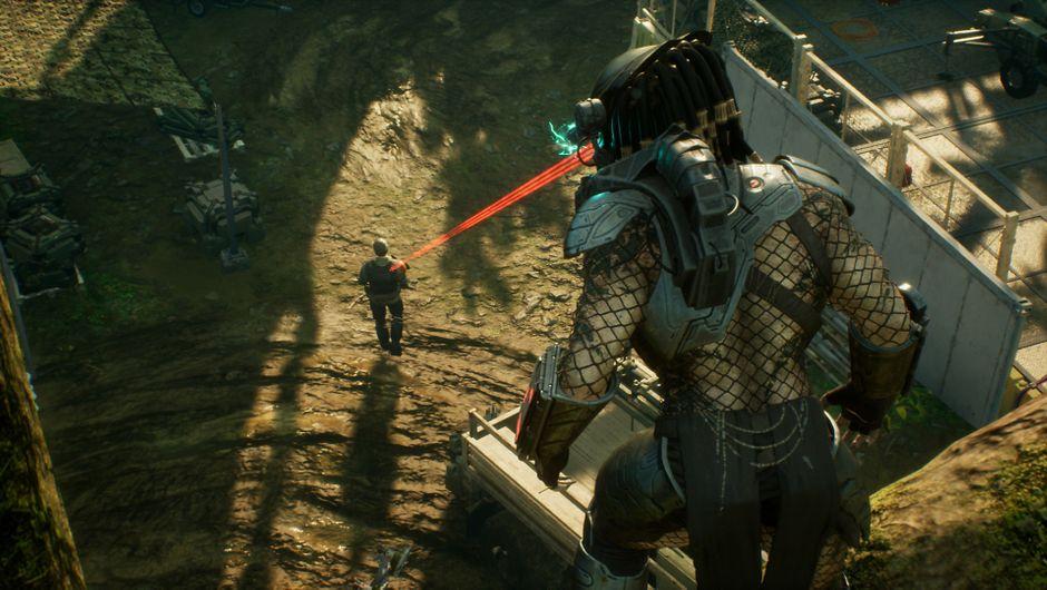 The Predator targets his prey in Predator: Hunting Grounds.