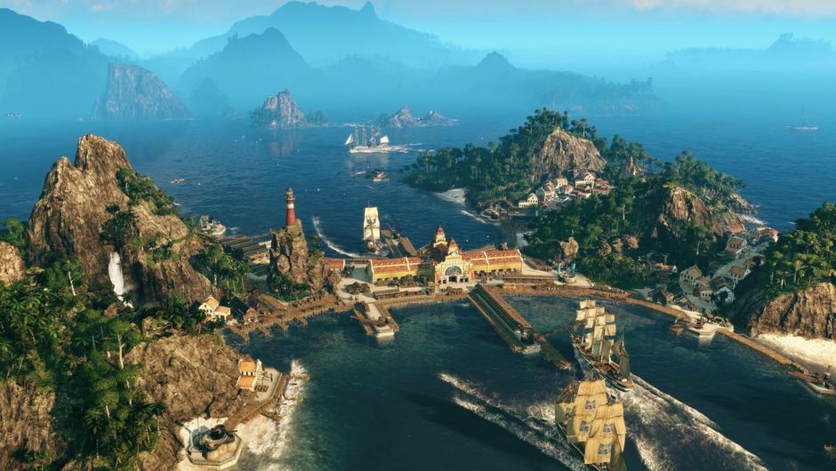 Anno 1800 screenshot of docking facilites with a mountain view in the background