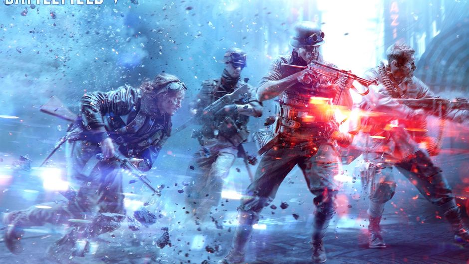 Picture of several people firing weapons in Battlefield V