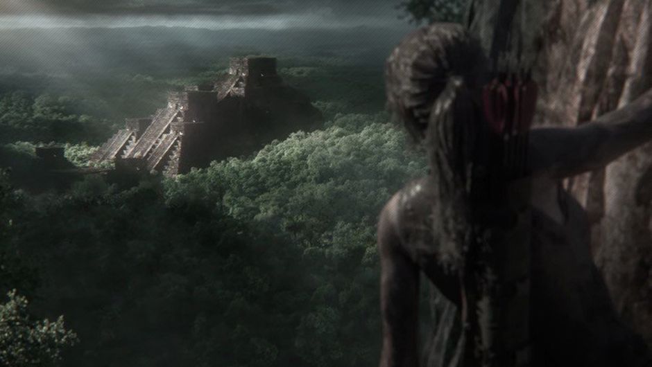 Lara Croft looking towards an ancient Aztec pyramid