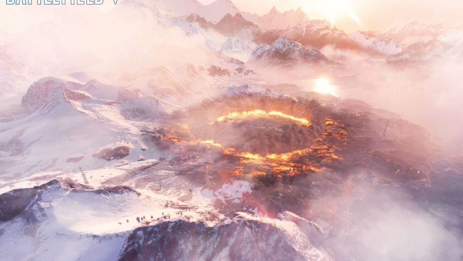 A large ring of fire from Battlefield V's battle royale mode FIrestorm